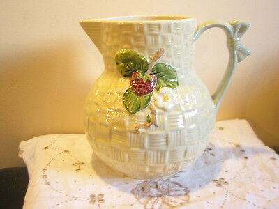 """Shorter  &  Son   Hand  Painted  Large  Jug 7.5""""  'Strawberry'"""