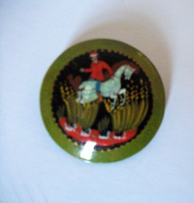 Palekh  Russian USSR vintage lacquer brooch pin
