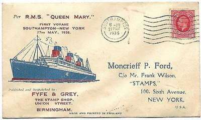 RMS Queen Mary First Voyage Southampton to New York 27 May 1936 Wavyline Slogan