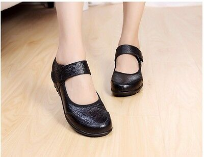 AU SZ 7 Women Girls Comfort Leather Flat Black Strip Working Nurse School Shoe