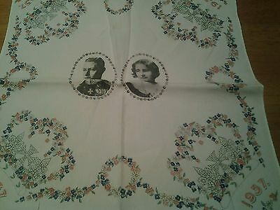 Antique Vintage 1937 Royal Silk hankerchief George VI and Elizabeth