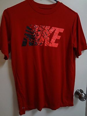 Nike Top Dri Fit Red Tee Shirt Athletic Clothing Top Youth Boys L