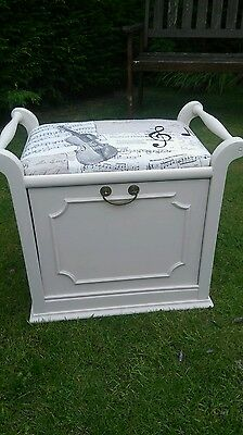 Vintage piano stool shabby chic music notes upholstery fabric