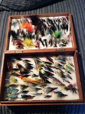 Vintage Wooden Fly Fishing Box With Lots Of Flys Sea Trout Salmon