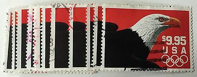 1 Scott #2541 $9.95 Eagle Olympic Rings Express Mail US Postage Stamp Used 1991