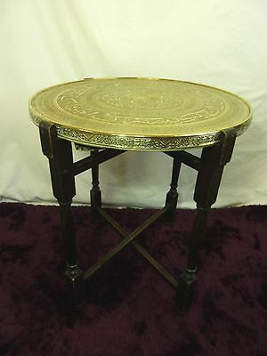 Vintage Brass Coffee & Card Table With Folding Legs Arabic? Script     #gl#