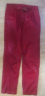 "Red Leather Vintage Trousers Die 27"" Waist 29"" Inside leg"