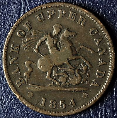 1854 Canada One Penny Bank Of Upper Canada Token