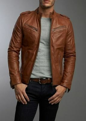 Men's Real Lambskin Tan Brown Leather Motorcycle Jacket Slim fit Biker Jacket