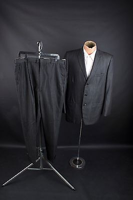 "Vtg 1960s Mens Wool Stripe Pattern Suit Jacket sz L 42 Pants 36x29"" #1874"