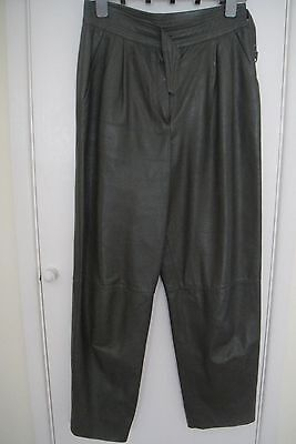 Vintage ladies 1980s leather trousers tailored lined Medium size 14 vgc