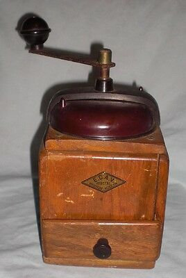 Vintage French COFFEE GRINDER Mill Hand Crank, Wooden Coffee Mill
