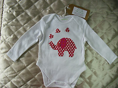 Baby Bodysuit 9-12 Months Long Sleeve Cotton With Elephant/Hearts Designer New