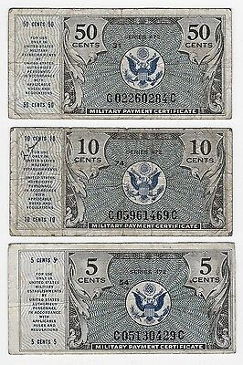 Military Payment Certificate 3 Billets 5-10 Et 50 Cents Non Date (1948 Serie 472