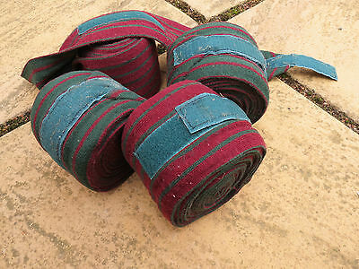 Stable bandages Burgundy & Green x 4