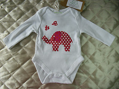 Baby Bodysuit 3-6 Months Long Sleeve Cotton With Elephant/Hearts Designer New