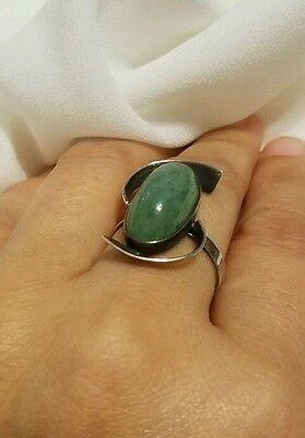 Vintage Chinese green Jade Sterling Silver Ring size 6 signed