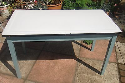 Antique vintage old Enamel top pastry kitchen table retro shabbychic dining desk
