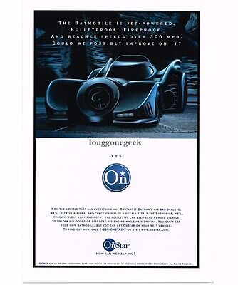 2000 ONSTAR Vehicle Satellite Communication BATMOBILE Vtg Print Ad