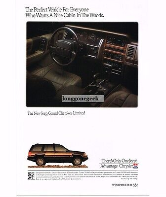 1992 Jeep GRAND CHEROKEE LIMITED with interior photo Vtg Print Ad