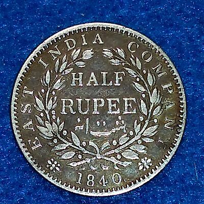 India Half Rupee 1/2 British 1840 Nicely Toned East India Company Queen Victoria