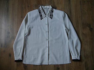 White Vintage Alexa Chung Button Up with embroidery Shirt Size 10-12
