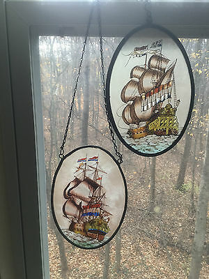 Antique Vintage Stained Glass Window 2 Hand Painted Ships Metal Frame 1875-1900