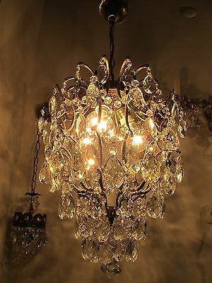Antique Vnt French Cage Style Czech Crystal Chandelier Lamp Light 1940s 15in dmt