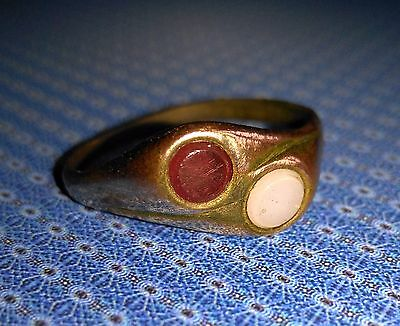 Medieval Bronze Ring with Stone.  Artifact 17th century