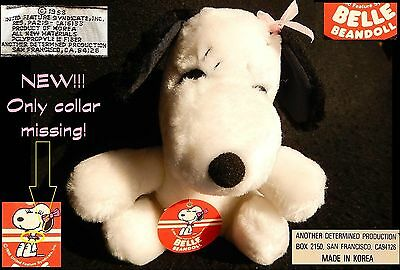 BELLE Peanuts Snoopy VINTAGE NEW peluche BEAN DOLL plush 1980 NO Collare collar