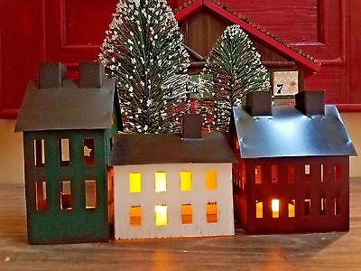 Primitive Saltbox Painted Tin Houses Set with Tealights Vintage Rustic Charm