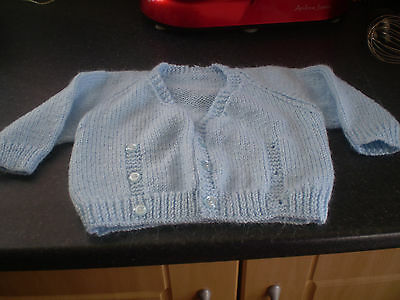 """Hand Knitted baby blue cardigan Size 26"""" chest"""