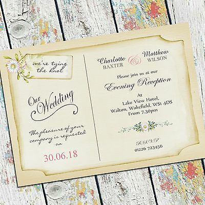 10 Vintage Rustic wedding day invitations and evening invites, personalised.