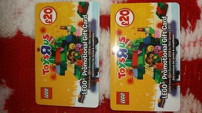 £20 vouchers x 2 for toys r us lego to be used from 26th December to January 16