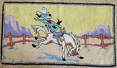 "1960s ""HUCKLEBERRY HOUND"" RUG - HANNA BARBERA TV CARTOON TOY - COWBOY SCENE"