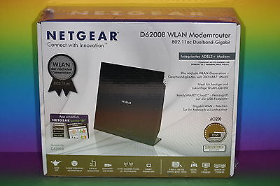 NEU Netgear D6200B WLAN Wireless AC1200 Dualband Gigabit Modem DSL D6200 Router