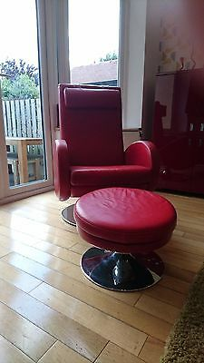Red Leather reclining armchair and footstool -  real Italian leather.