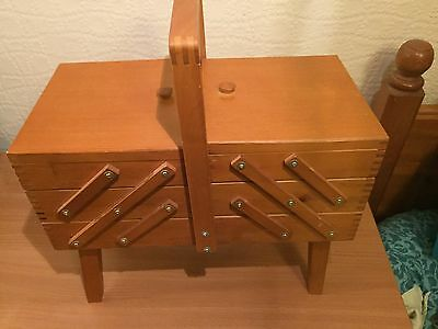 Large Wooden Cantilever Sewing Storage Box