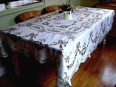 Vintage Large Hand Embroidered Linen Madeira Lace Tablecloth Roses & Bows