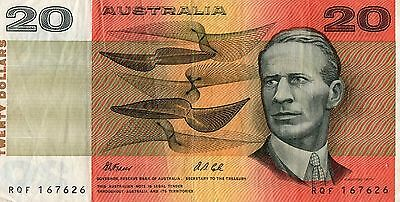 World Note Collector Australia 20 Dollar Bank Note Vf Beautiful  B007
