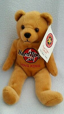Hard Rock Cafe Hong Kong Limited Edition Teddy Bear Beanie 20cm