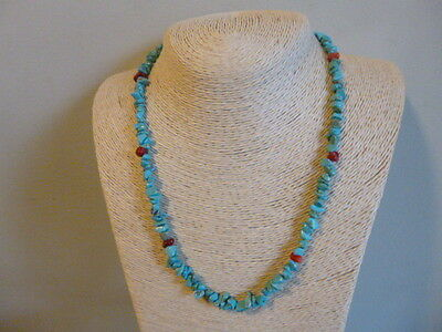 Turquoise Nugget And Coral Native American Southwestern Style Necklace