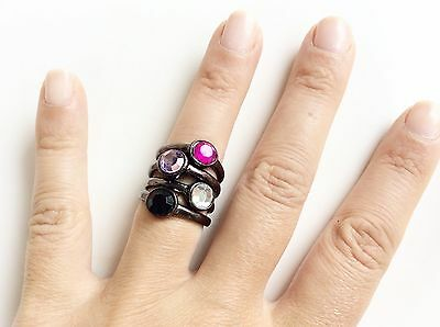 Stacks Of Rings Gun Metal Color Pink Clear Black Purple Rhinestone Assorted Size