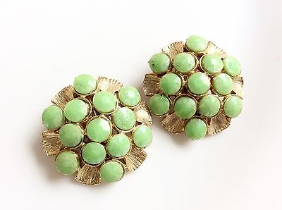Lime Green Clip On Earrings Round Gold Tone Clips Retro Old Round Clips Earrings