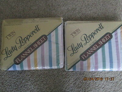Flannel Twin Fitted and Flat Sheet No Iron Stripe Multi Color New in Package