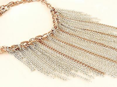 Statement Fringe Necklace Bib Collar Necklace Silver And Copper Color Necklace