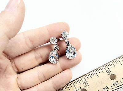 Rhinestones Dangles Earrings Back Screw Earrings Silver Rhinestones Drops Pretty