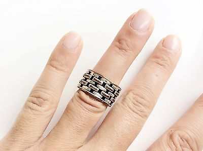BCBGMAXAZRIA Ring Large Band Pre-owned Silver Color Size 6