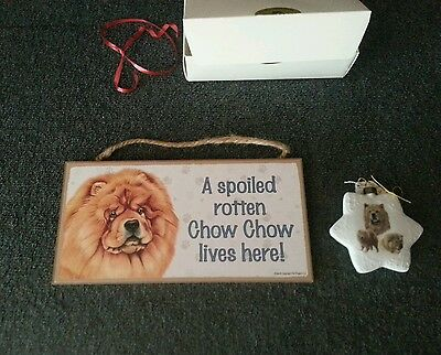 A new chow chow dog omament and a new chow chow plaque (spoiled rotten board