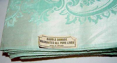 """12 Vintage Teal Mint Green Napkins - Never Used-""""Double Damask"""" Pure Irish Linen"""